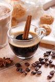 Italian espresso coffee in glass cup Stock Photo