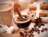 Italian espresso coffee in glass cup Stock Photos