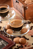 Italian espresso coffee in glass cup Royalty Free Stock Images