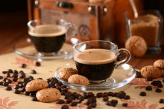 Italian espresso coffee in glass cup Royalty Free Stock Photography