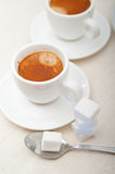 Italian espresso coffee and sugar cubes Royalty Free Stock Photo