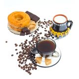 Italian espresso donut, sugar  and coffee beans Royalty Free Stock Image