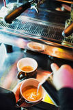 Italian espresso expresso coffee making preparation with machine royalty free stock images