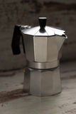 Italian espresso machine. Over wooden background stock photo