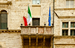Italian and EU Flags Stock Photo