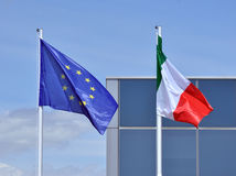Italian And EU Flags Stock Photos