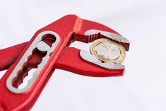 Italian Euro coin squezzed with pliers. Stock Images