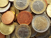Italian Euro coins. Lying on a heap of coins Stock Image