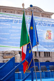 Italian and Europe flags Stock Images