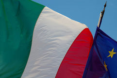 Italian and European flags. A view of an italian and an european flags Stock Images