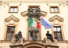 Italian and European flags Royalty Free Stock Photography