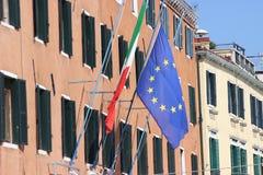 Italian And European Union Flag Stock Images