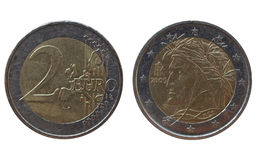 Italian Euros with Dante's portrait on. 2 Euro coins from Italy isolated over white background Stock Photo