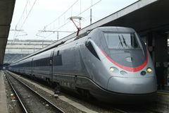 Italian Eurostar train at Termini, Rome Stock Images