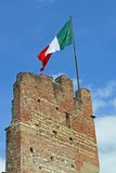 Italian falg in Marostica walls Royalty Free Stock Photos