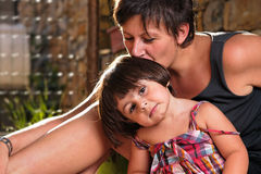 Italian family lifestyle portrait. Mother and Daughter. Very high resolution image Royalty Free Stock Photo