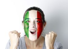 Italian fan screaming GOAL Stock Photos