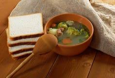 Italian  farm-style   soup with broccoli Royalty Free Stock Photos