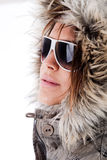 Italian fashion model wearing sunglasses Stock Photos