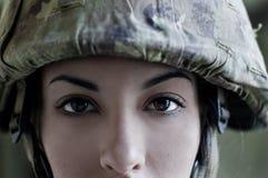 Italian female soldier portrait. Italian female soldier front close up portrait Royalty Free Stock Photo