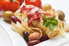 Italian fettuccine pasta with beans Royalty Free Stock Photos