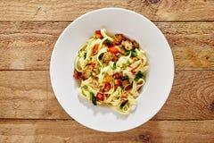 Italian fettuccine pasta with mushrooms Royalty Free Stock Photos