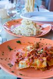Italian fettuccine and spaghetti with cheese in Royalty Free Stock Photo