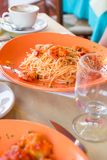 Italian fettuccine and spaghetti with cheese in Stock Images