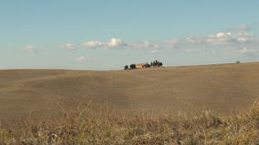 Italian field. Field of farmland in the Val d'Orcia in Tuscany, Italy stock footage