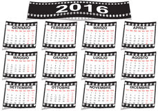 Italian film strip calendar 2016. Graphic illustration of the Italian film strip calendar 2016 Stock Photo