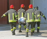 Italian firefighters with INJURED Royalty Free Stock Photos