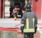 Italian fireman with protective uniform Royalty Free Stock Photo
