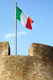 Italian flag. On tower of The Saint Agel Castl. Rome. Italy royalty free stock photo