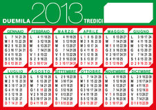 Italian flag 2013 calendar. 2013 calendar with italian text and holidays in flag colours Royalty Free Stock Image