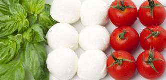 Italian flag. Composed by basil, mozzarella and tomato royalty free stock image