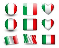 The Italian flag. Set of icons and flags. glossy and matte on a white background Royalty Free Stock Image