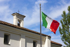 Italian flag. The italian flag near the church of Sant'Anna royalty free stock photos