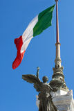 Italian Flag. Detail of the Altare della Patria (Altar of the Fatherland) in Rome stock photo