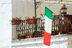 Italian flag. On a terrace royalty free stock photos