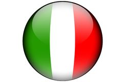 Italian flag. The italien flag isolated on a white background and represented in a glassy orb Royalty Free Stock Image