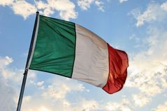 Italian Flag. Waves in the wind royalty free stock photography