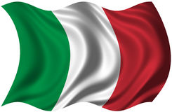 Italian Flag. The National Flag of Italy billowing in the wind Stock Photo
