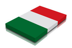 Italian flag. 3d Render with reflection vector illustration