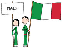 Italian flag. Illustration of a boy and girl holding Italian flag and title stock illustration