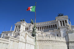 Italian flag at Altare della Patria the Monument to Victor Emmanuel II Rome. Monumento Nazionale a Vittorio Emanuele II is a monument built in honor of the royalty free stock photos