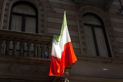 Italian flag on balcony Stock Photo