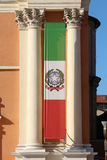 Italian flag banner with ionic columns Stock Images