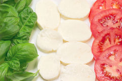 Italian flag from basil, tomatoes and mozzarella. Royalty Free Stock Images