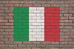 Italian flag on brick wall stock illustration
