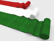 Italian flag carpet. Fine 3d image of rolling carpet with italian flag colors stock illustration